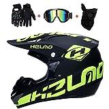 CHEYAL Motorradhelm Cross Helme Schutzhelm Motocross Helm für Motorrad Crossbike Off Road Enduro Sport mit Handschuhe Sturmmaske und Brille 58-59CM (Gelb Fluoreszenz),M57~58CM