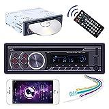 Hikity 1 Din Autoradio Bluetooth Lecteur CD DVD Radio de Voiture MP3 avec FM USB AUX-in + Remote Control