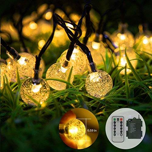 Globe String Lights Battery Operated, 15m 100 LED Crystal Ball Waterproof Warm White Lights, 8 Modes with Remote for Indoor Outdoor Patio Garden Lawn Home Party Christmas Decorations