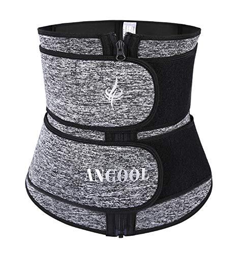 ANGOOL Neopren Sweat Waist Trainer Corset for Women Weight Loss with YKK Zipper,Trimmer Belt Body Shaper Cincher