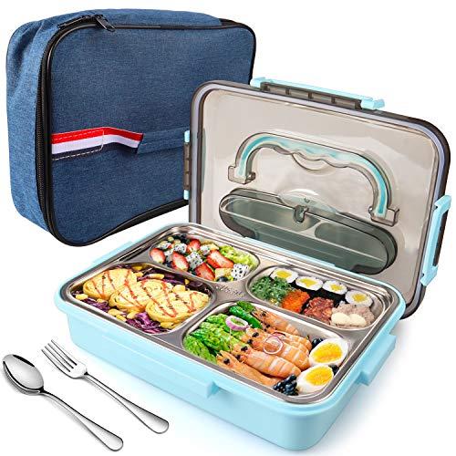 Jojobnj brotdose, 304 Edelstahl Anti-Verbrühungs Bento Box,Auslaufsichere Brotdose mit 4 Fächern, Besteck und Lunchpaket, kein BPA, geeignet für Mikrowelle