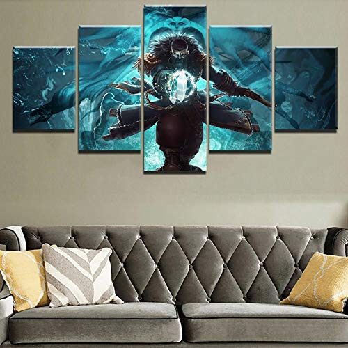 HIMFL 5 Panel Leinwanddruck Spiel Poster Piratenschiff Schwert Waffe Wandkunst Zuhause Dekor Malerei Kunstwerk Für das Wohnzimmer,A,30×50×2+30×70×2+30×80×1
