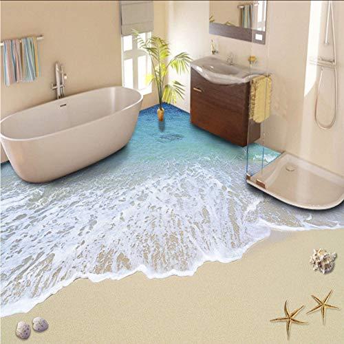 (zxfcccky) Benutzerdefinierte 3D Boden Malerei Tapete Strand Wellen Boden Aufkleber PVC selbstklebende Abnutzung rutschfeste wasserdichte verdickte Boden Wandbilder