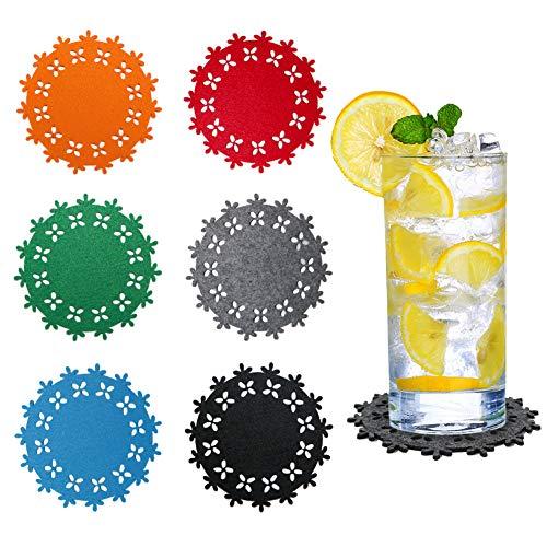Naispanda, set di 12 sottobicchieri in feltro, sottobicchieri, design multicolore per bevande, barrette, tazze, tazze di porcellana, sottobicchieri in vetro