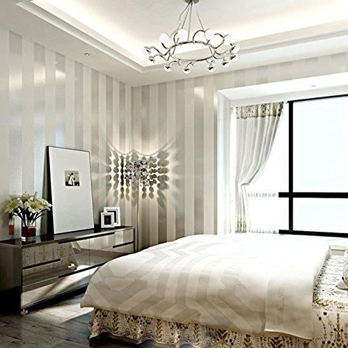 Carta da parati non tessuta a righe verticali minimalista moderna KeTian per soggiorno camera da letto 0.53 m (1.73 'P) x 10 m (32.8' L) = 5.3 m 2 (57 piedi quadrati) (crema e argento)