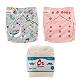 Product Image of the Lil Helper Reusable Cloth Diapers with 1 Prefold Bamboo Liner Insert (Pack of 2)...