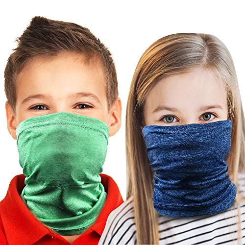 CIEHER 2 Pack Neck Gaiters for Kids, Kids Neck Gaiter Face Mask,Kids Gaiter Mask,Kids Gaiter Filter Pocket,Columbia Neck Gaiter KidsAnti Dust Balaclava, Face Mouth Cover Scarf Bandana