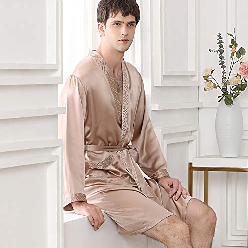 ZWLXY Silk Pajamas Men's Long-Sleeved Silkworm Silk Nightgown Bathrobe Home Service,A,XL