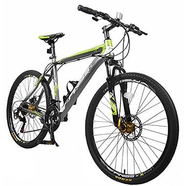 Merax Finiss 26  Aluminum 21 Speed Mountain Bike with Disc Brakes(Fashion Gray&Green)