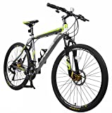 Merax Finiss 26' Aluminum 21 Speed Mountain Bike with Disc Brakes(Fashion Gray&Green)