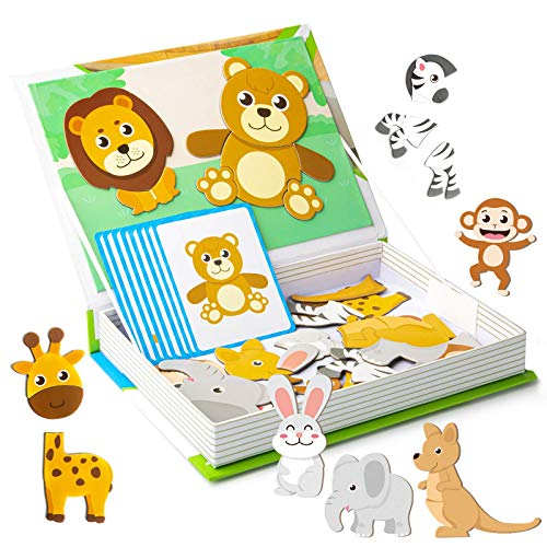 HEMRLY Toddler Magnets Puzzle Toys for Preschool, Kids Magnets Animals Jigsaw for Refrigerator Magnets, Magnets Boards Set for Toddlers 1-3