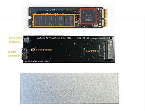 Macbook Air Pro Retina 2013 2014 SSD External Enclosure Case, Usb3.0 Interface,unique! (Silver)