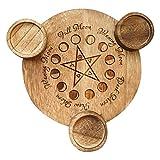 ALEOHALTER Portavelas de Tarot, candelabro de luz de té con Pentagrama, Bandeja de Madera, luz de...