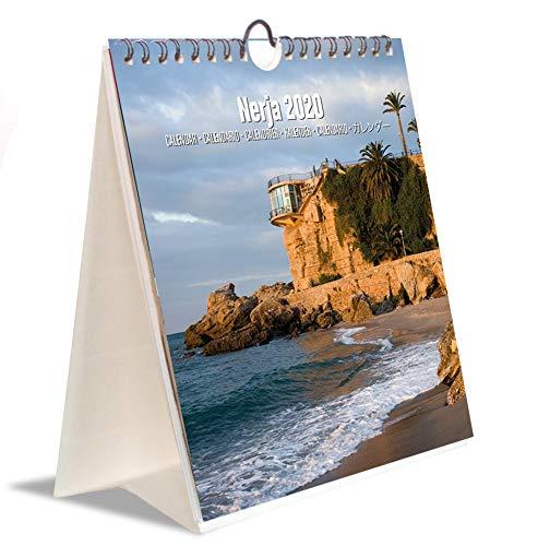 Erik® - Calendario annuale 2020 da scrivania e da parete, ideale per casa o ufficio, 16,5x18 cm - Nerja, Malaga