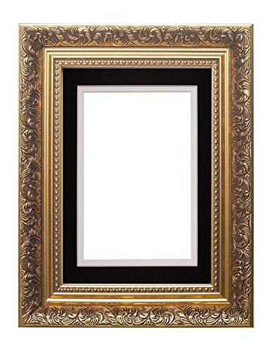 Memory Box Cadre Photo avec Double Passe-Partout Style Antique pour 45,7 x 30,5 cm Doré/Noir sur Blanc