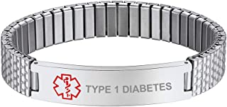 Bandmax Engraved Available Medical ID Alert Symbol Stainless Steel Silver Silicone Elastic Emergence Type Bracelet,10/12/1...