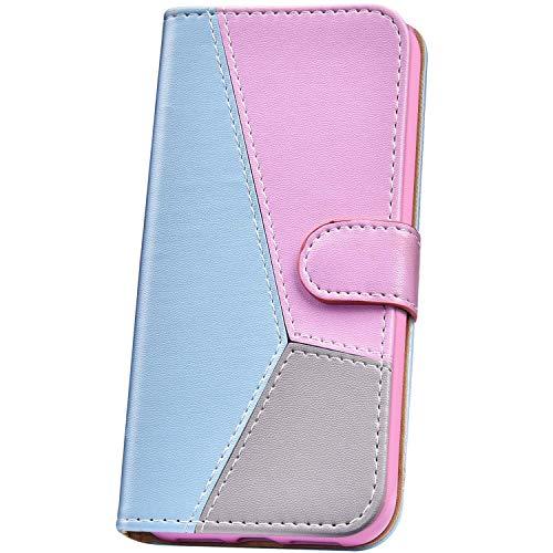 JAWSEU Compatible avec Huawei Y6 2019/Honor 8A Coque Portefeuille Cuir à Rabat Étui Housse Protection Premium PU Magnétique Mode Rétro Couleur de Épissure Slim Leather PU Flip Wallet Case,Bleu