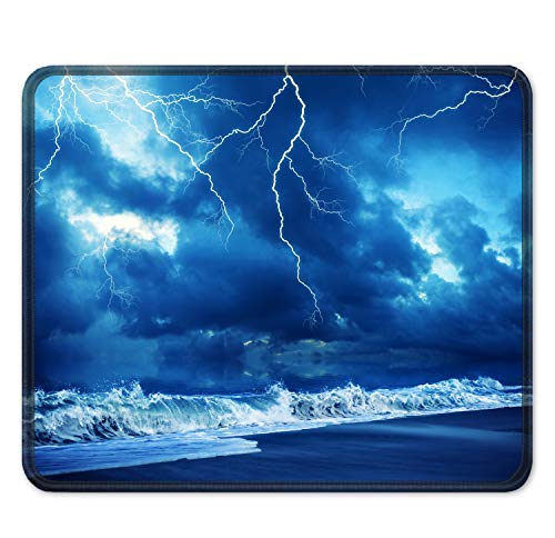 """Auhoahsil Mouse Pad, Square Lightning Design Anti-Slip Rubber Mousepad with Stitched Edges for Office Gaming Laptop Computer Men Women, Beautiful Custom Pattern, 11.8"""" x 9.8"""", Blue Lightning & Storm"""