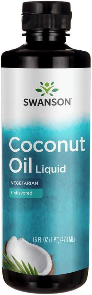 Swanson Liquid Coconut Oil Unflavored 16 fl Ounce (1 pt) (473 ml