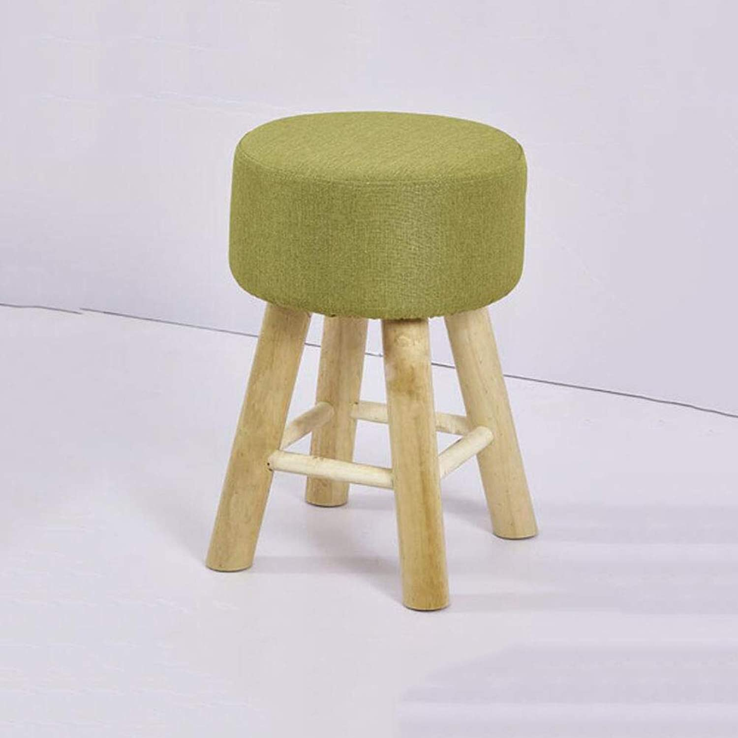 FH Solid Wood Stool Home Low Stool shoes Bench Bench Fabric Stool Fashion Makeup Stool Dressing Stool FH (color   Matcha Green)