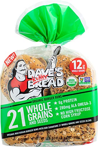 Dave's Killer Bread Organic Burger Buns, 21 Whole Grains & Seeds, 6g Protein, 12g Whole Grains,, 16Count (2)