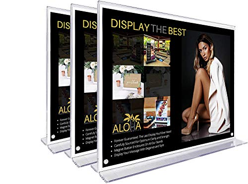 Aloha Acrylics, T-Shaped Double Sided Sign and Photo Holder, Horizontal and Landscape Orientation with Magnet Button Enclosures for Table Top Display, 8.5 x 11 Inches - 3-Pack