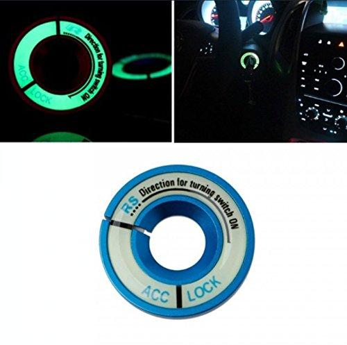 BLAU/BLUE Leuchtend Zündschloss ABDECKUNG Ring Dekorative Aufkleber Ring Schlüsselloch Schutz Ring Start Schalterknopf Alu Rahmen FLUORESZIEREND leuchtet im Dunkeln - sarachen - INION®
