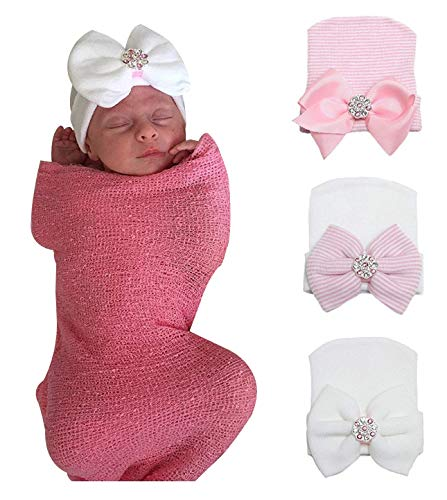 Top newborn hat with bow pink for 2020