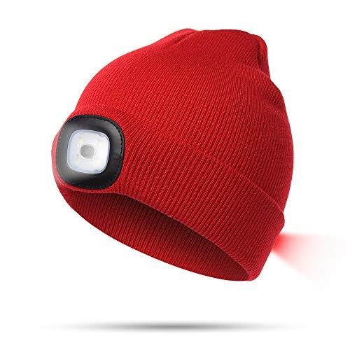 INHDBOX LED Mütze Kappe, Strickmütze mit USB Nachladbare Licht, Beleuchtung und blinkende Warnungs-Arten 8 LED, einfache Installation, Rot, L