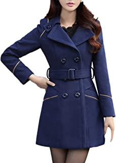 Funnygals - Women's Elegant Wool & Cashmere Jacket Winter Double-Breasted Lapel Wool Coat Trench Coat Overcoat with Belt