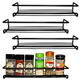 Belle Vous Wall Mount Spice Rack Organizer for Cabinet (4 Pack) - Single Tier Hanging Organizers for Pantry - Seasoning Organizer - Pantry Door Organizer - Spice Storage Stand