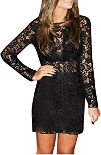 NPRADLA Ladies¡¯ Autumn and Winter Dress, Black and White, Plain, Lace, Half-Sleeved Party Dress