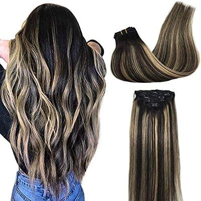 Googoo Hair Extensions Clip in Human Hair Extensions Remy Hair Ombre Hair Extensions 120g Double Weft