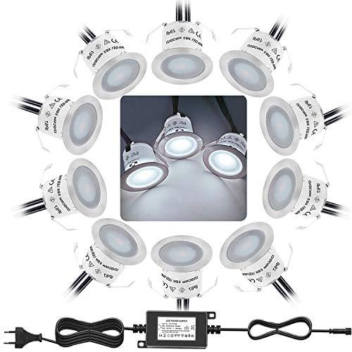 Bojim Lot de 10 Mini Spot LED Encastrable Extérieur, IP67 Étanche, Lumière Blanc du Jour 4000K, Lampe de sol 32MM 0.6W DC12V pourChemin Terrasse Bois Piscine Escalier