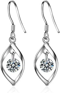 Fashion Jewelry Crystal and Twist Tassel Dangle Earrings for Women & Silver plated with Hook - Unique Bridal CZ Cubic Zirc...