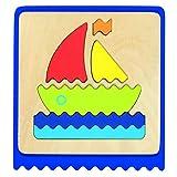 Goki - Puzzle táctil de Madera, 22 Piezas, con Bolsa algodón (Gollnest & Kiesel 56906.0)
