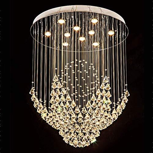 GU10 Lampadario lungo semplice e moderno in cristallo, per attico scala scale vano scala villa duplex, scale metalliche sospese personalità creativa Illuminazione-filo sospeso colore cristallo diametr