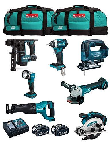 MAKITA Kit MK703 (DHR171 + DGA504 + DTD154 + DJR186 + DJV182 + DSS610 + DML802 + 2 Baterías de 5,0 Ah + Cargador + 2 x LXT600)