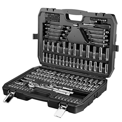 Steckschlüsselsatz 201-tlg Steckschlüssel Set CR-V Socket Set inkl drei Drehmomentschlüssel 1/2