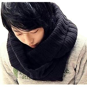 【Ludus Felix】スヌード ネックウォーマー メンズ マフラー ストール おしゃれ 防寒 ボリューム 男性用 大判 (ブラック)