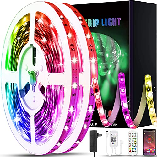 100ft Led Lights for Bedroom, XIER APP Control Music Sync Color Changing Led Light Strips Led Strip Lights with Remote for Room Home Decoration