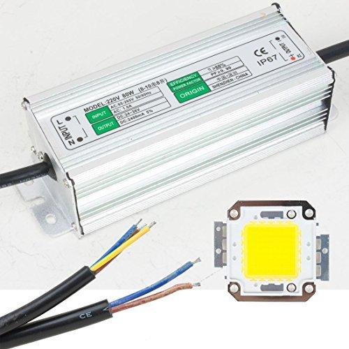 DealMux 80W LED Driver Waterproof IP67 Alimentação High Power Adapter + 80W LED Chip Bulb Energy Saving Para DIY Branco Quente