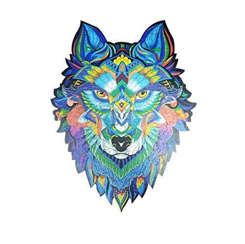 Without Puzzle de Madera Jigsaw Majestic Wolf Dibujos Animados Puzzle de Madera Piezas de jigsa para niños Adultos Regalo de Juguete Educativo (Color : A3)