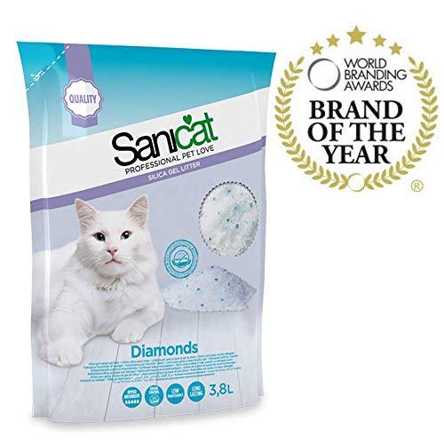 SANICAT Diamonds Silikat Katzenstreu Absorbiert - 3,8L