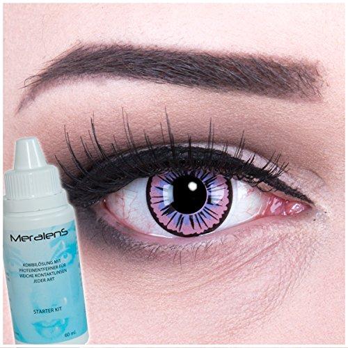 Meralens violette Kontaktlinsen, Purple Fee mit Pflegemittel ohne Stärke, 1er Pack (1 x 2 Stück)