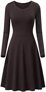 iFOMO Ladies O-Neck Long Sleeve Mid-Calf A-line Solid Color Dress for Womens