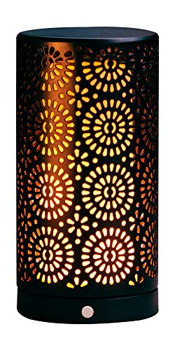 LED Flammen Lampe mit Timer Tischleuchte USB warmweiß Fackel Feuer Effekt Licht (Schwarz)