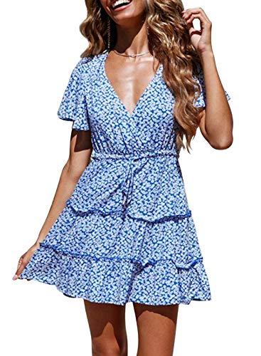 FOBEXISS Mini vestido de verano con estampado floral con volantes y cuello en V para mujer