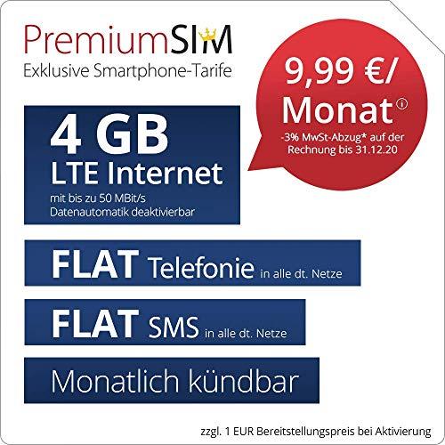 Handyvertrag PremiumSIM LTE M Allnet Flat - monatlich kündbar (FLAT Internet 4 GB LTE mit max. 50 MBit/s mit deaktivierbarer Datenautomatik, FLAT Telefonie, FLAT SMS und EU-Ausland, 9,99 Euro/Monat)