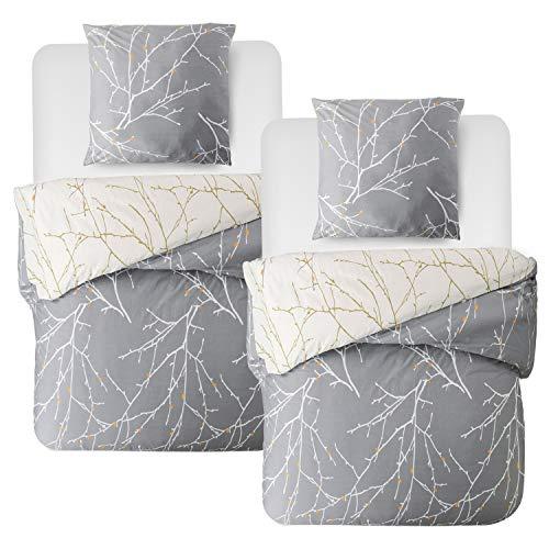 Bedsure Partner bettwäsche 4 teilig 135x200 cm graue Bettbezug Set mit Zweige Muster, warme& atmungsaktive pärchen bettwäsche Paare 4 TLG mit Reißverschluss und 2 mal 80x80cm Kissenbezug
